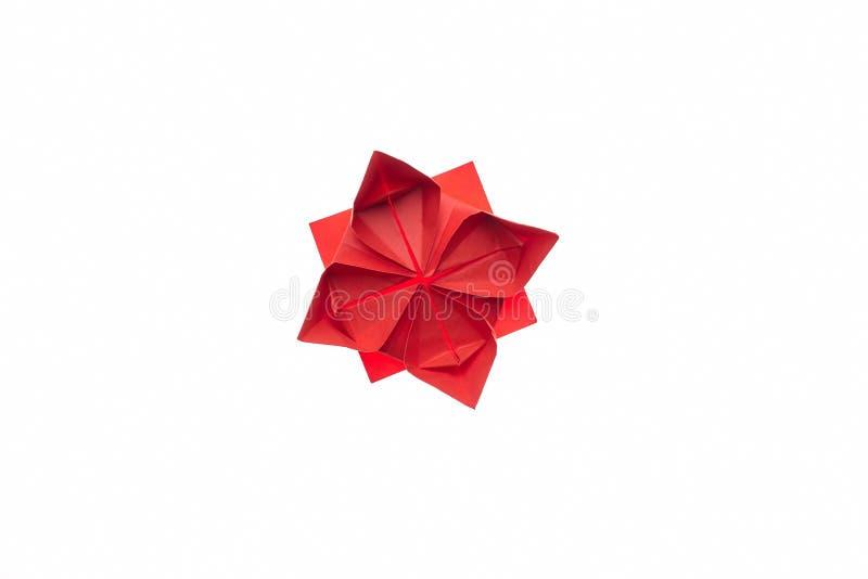 Origâmi da flor de Lotus no branco fotografia de stock royalty free