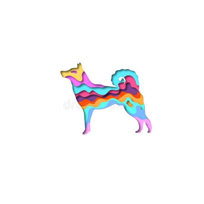 Origâmi da forma 3D de Laika do cão do corte do papel Projeto de conceito na moda Ilustração do vetor ilustração royalty free