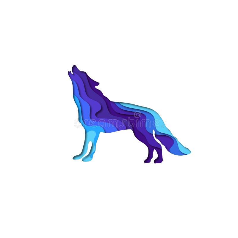 Origâmi da forma 3D do lobo do corte do papel Projeto na moda da forma do conceito Ilustração do vetor ilustração stock