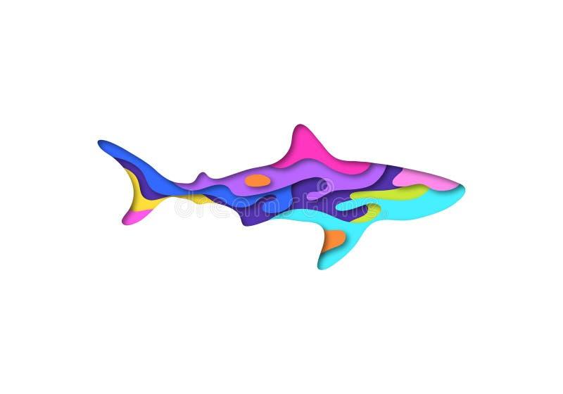 Origâmi da forma 3D do tubarão do corte do papel Projeto de conceito na moda Ilustração do vetor ilustração do vetor