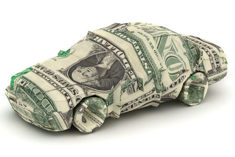 Origâmi do dólar do carro fotos de stock