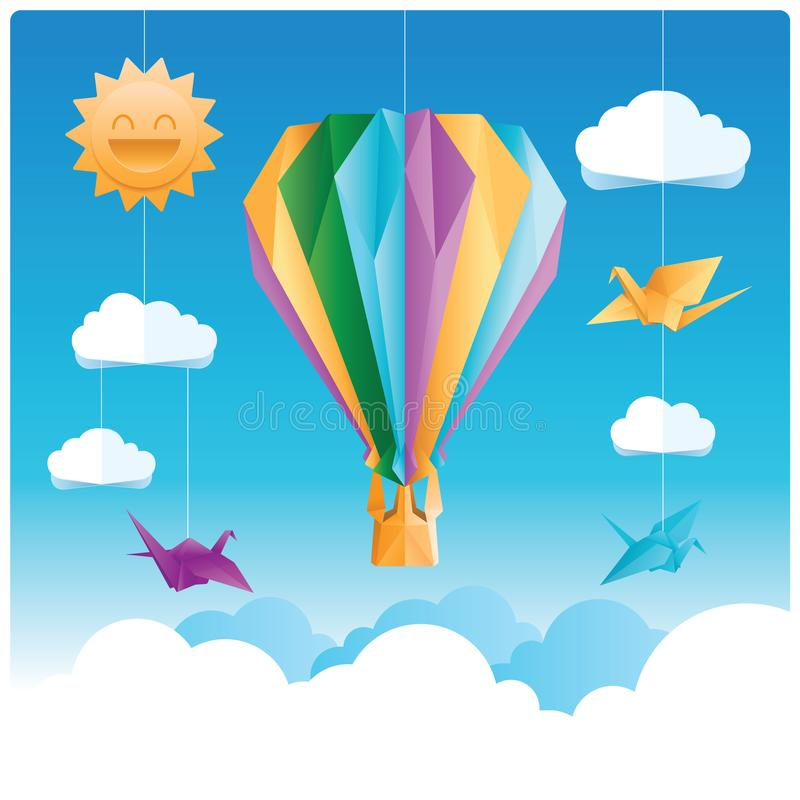 Origâmi dos pássaros e do balão de ar quente com nuvens e sol ilustração stock