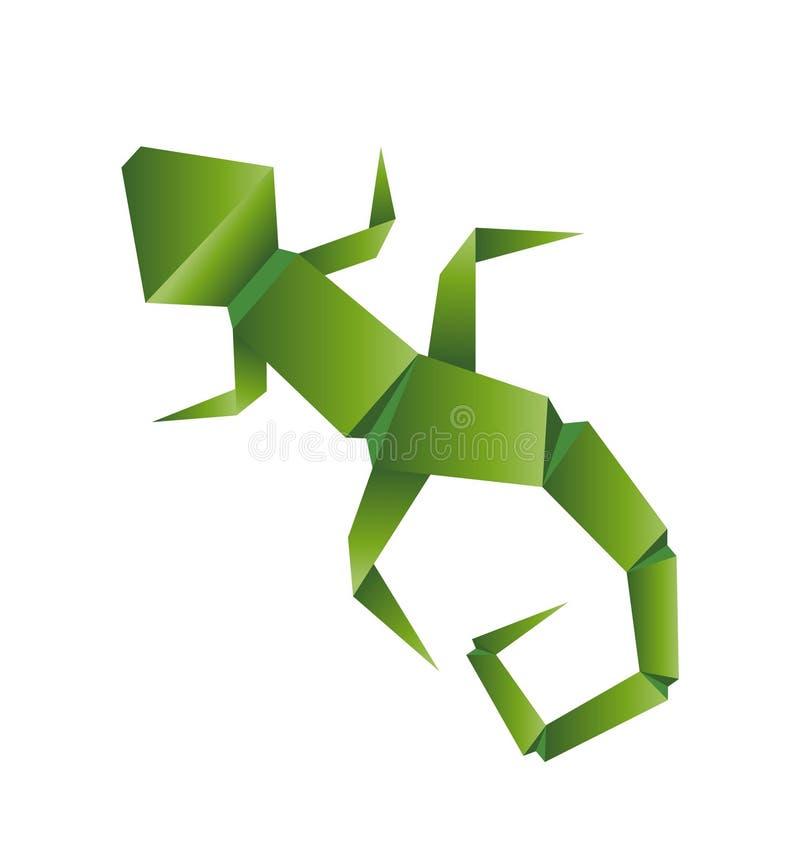 Origâmi isolado sumário do lagarto em um fundo branco, ilustração do vetor ilustração stock