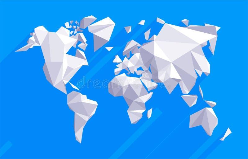 Origami世界地图 向量例证