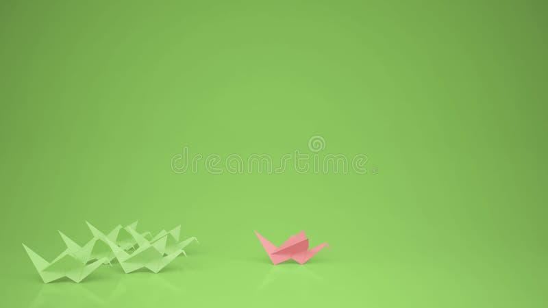 Origami变粉红色纸起重机领导小组起重机,领导刺激与拷贝空间,绿色的概念想法 库存例证