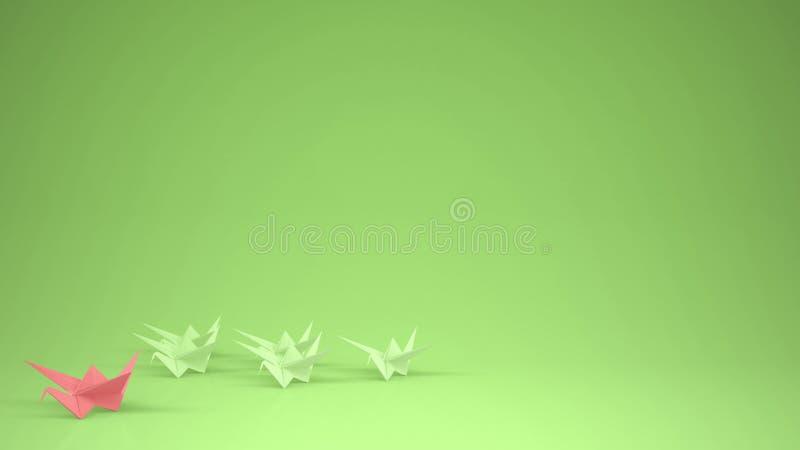 Origami变粉红色纸起重机领导小组起重机,领导刺激与拷贝空间,绿色的概念想法 皇族释放例证