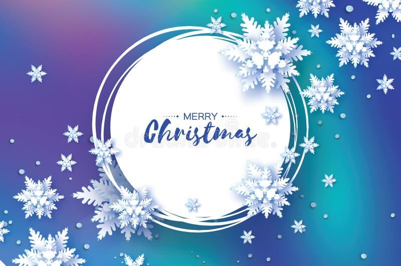 Origami圣诞节贺卡 纸裁减雪剥落 新年好 冬天雪花背景 圈子框架 向量例证