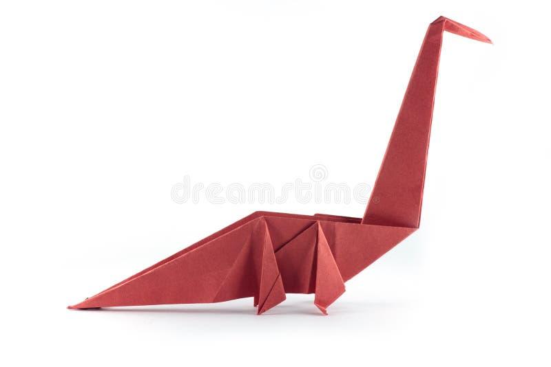 Origami在白色背景隔绝的恐龙猛禽 免版税库存图片