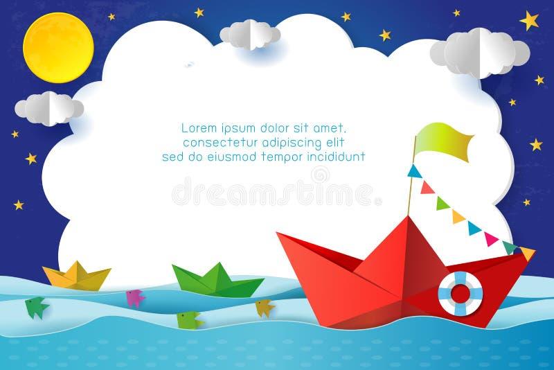 Origami小船航行在海洋在晚上,旅行宣传手册的,您的文本概念模板,纸艺术和数字 皇族释放例证