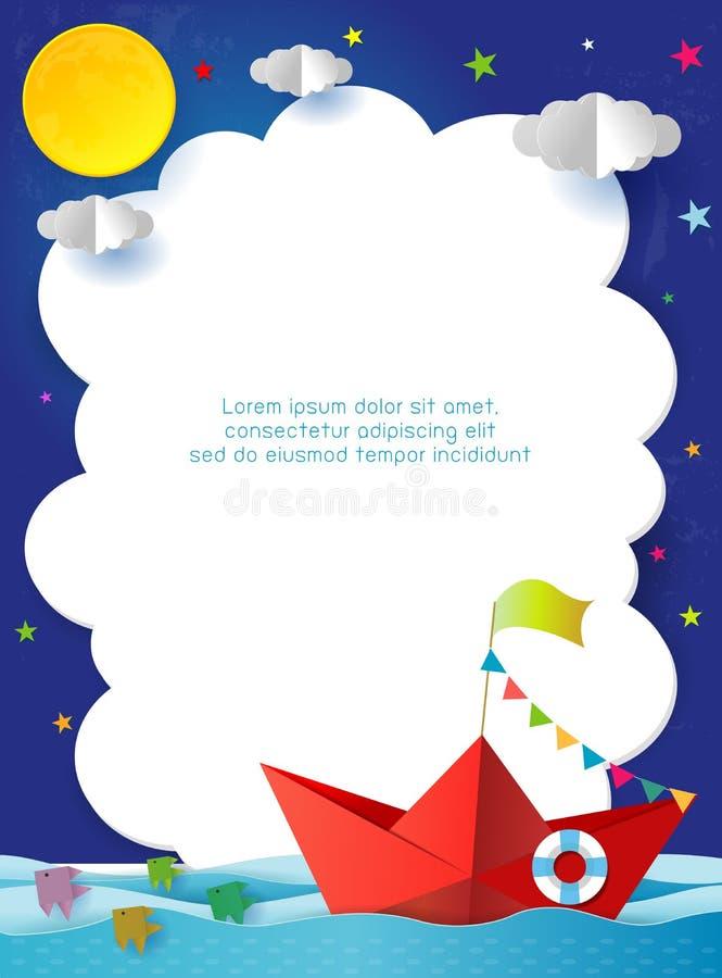 Origami小船航行在海洋在晚上,旅行宣传手册的,您的文本,纸艺术概念模板 向量例证