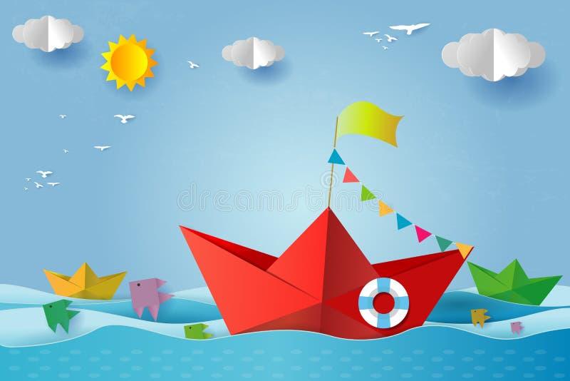 Origami小船航行在海洋,旅行宣传手册的概念模板,您的文本、纸艺术和数字工艺样式 库存例证