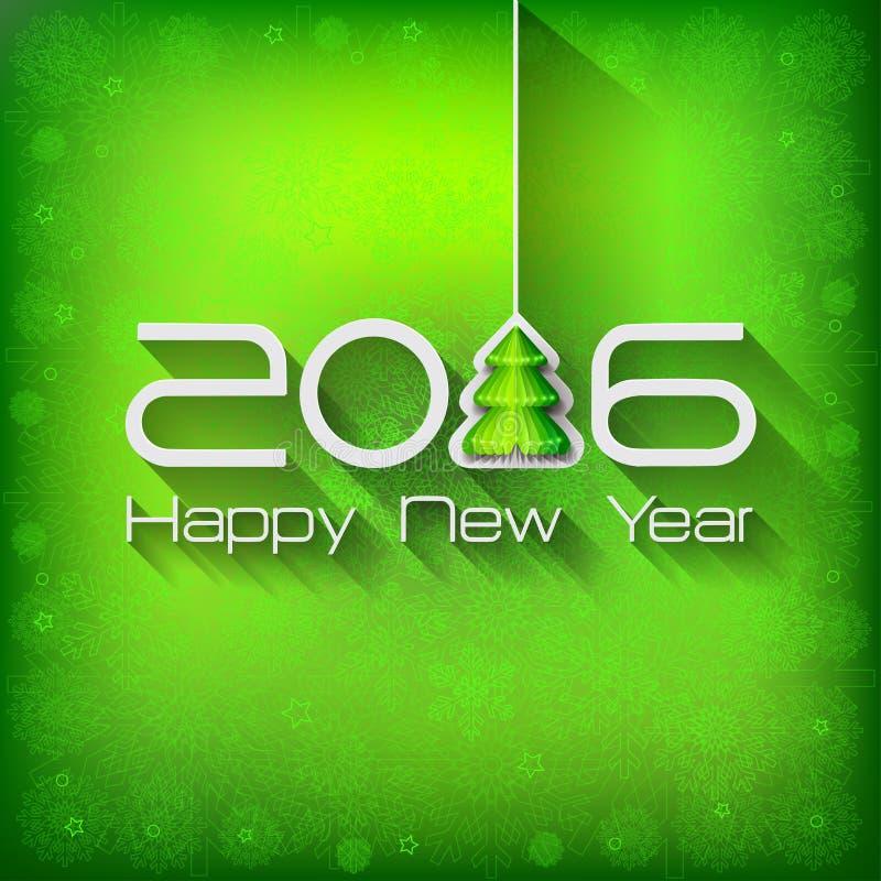 2016年Origami新年快乐树 向量例证