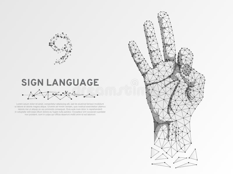 Origami样式手语第九,刺激,轻打,多角形低多聋人民沈默通信传染媒介 向量例证