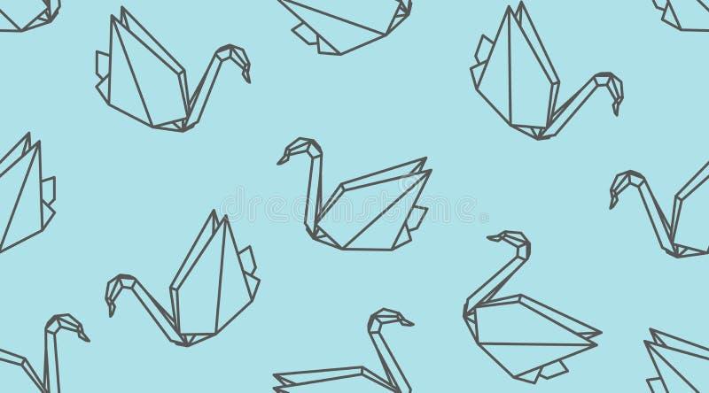 Origami概述起重机鸟无缝的样式 线性日本传染媒介装饰品 向量例证