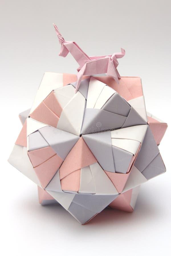Origami独角兽骑马纸球 图库摄影