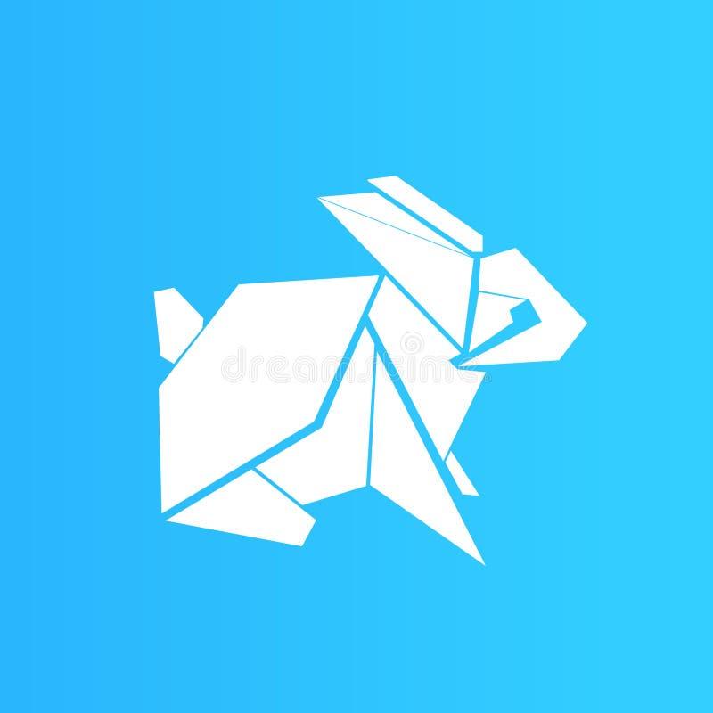 Origami白色兔子,简单设计 皇族释放例证