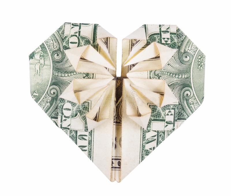 origami的心脏从美元的 金钱Origami  美元折叠了入在白色背景隔绝的心脏 免版税库存照片