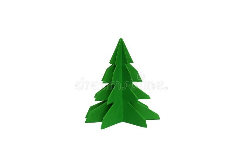 Origami纸在被隔绝的背景的圣诞树 库存照片