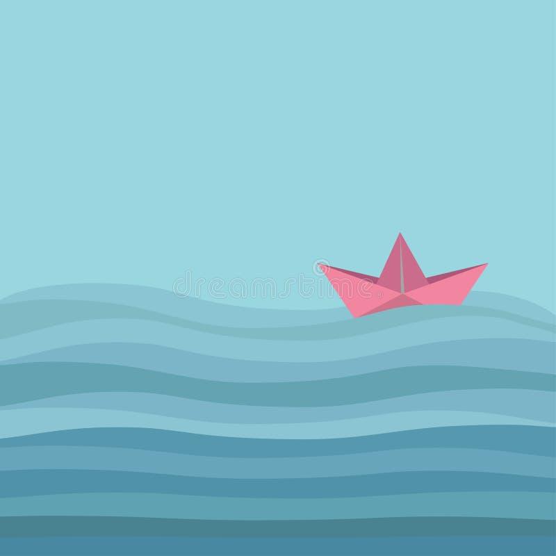Origami纸小船和海洋海波浪 平的设计爱卡片 皇族释放例证