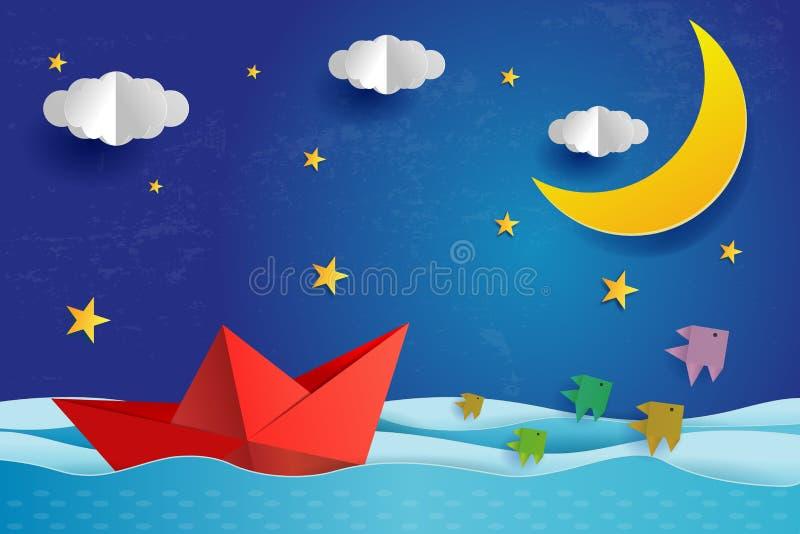 Origami纸小船在蓝色海海洋的晚上 与满月的超现实的海景与云彩和星、纸艺术和数字工艺s 皇族释放例证