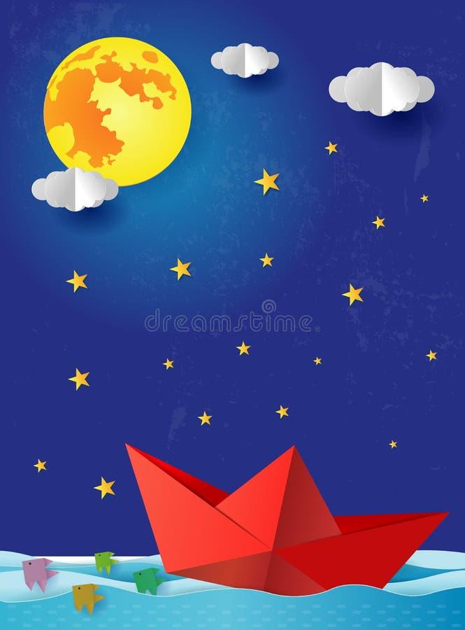 Origami纸小船在蓝色海海洋的晚上 与满月的超现实的海景与云彩和星,纸艺术样式 皇族释放例证