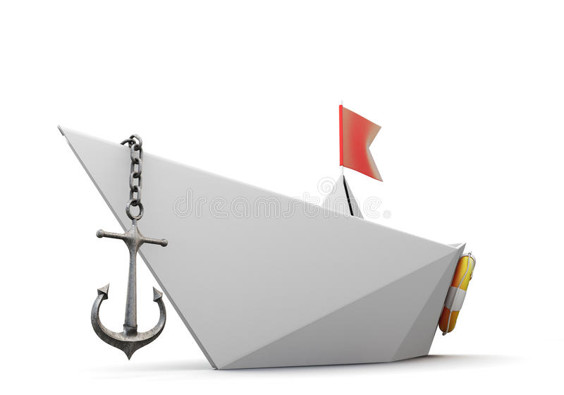 Origami纸小船特写镜头 3d 皇族释放例证