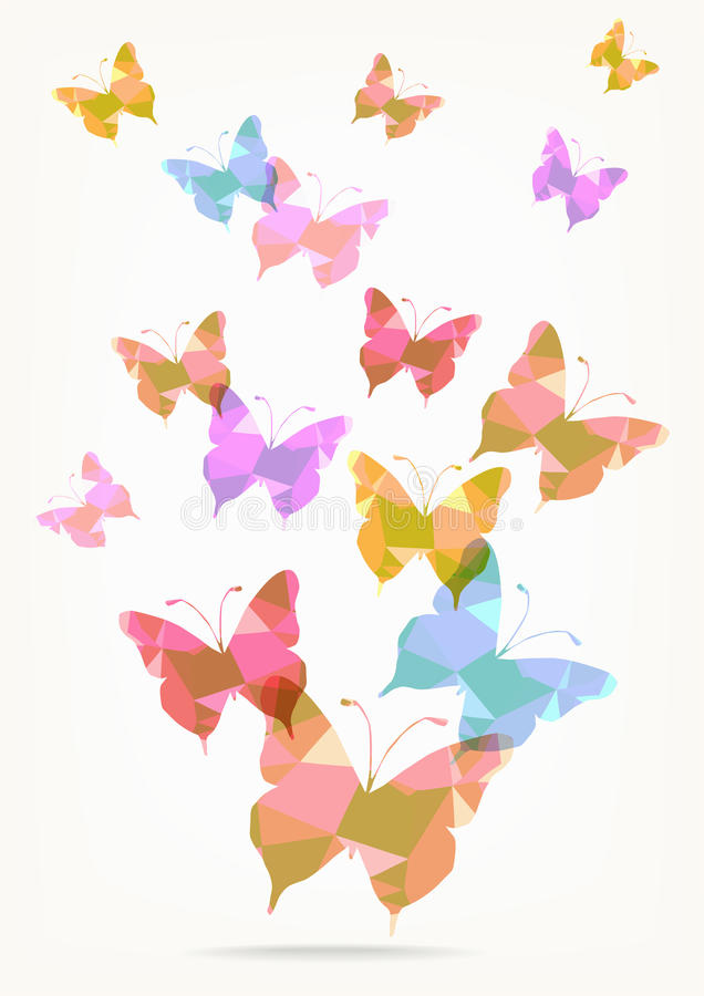 Origami纸蝴蝶剪影 向量例证