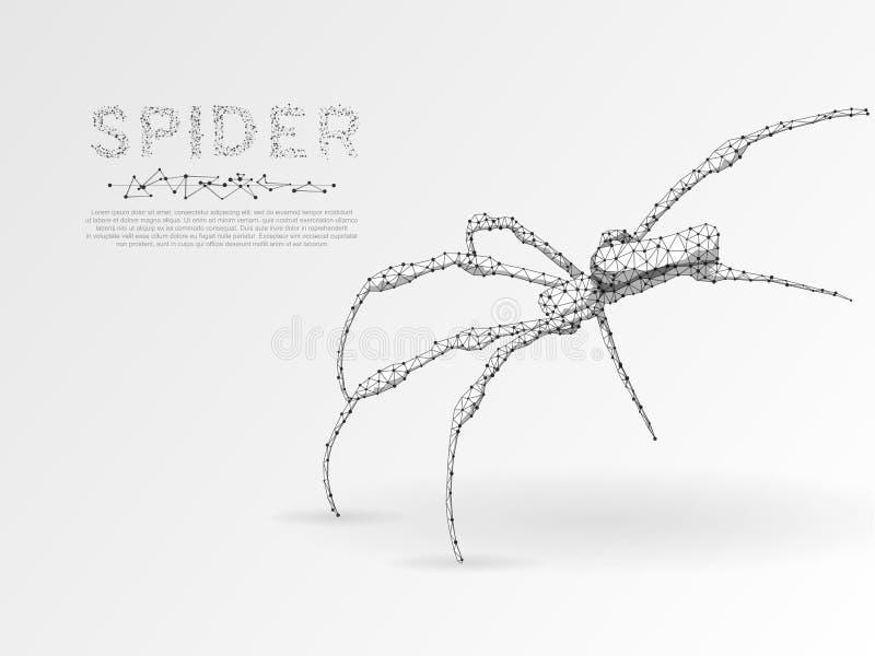Origami蜘蛛 多角形空间低多例证 毒物,危险标志 连接wireframe滤网结构传染媒介 库存例证