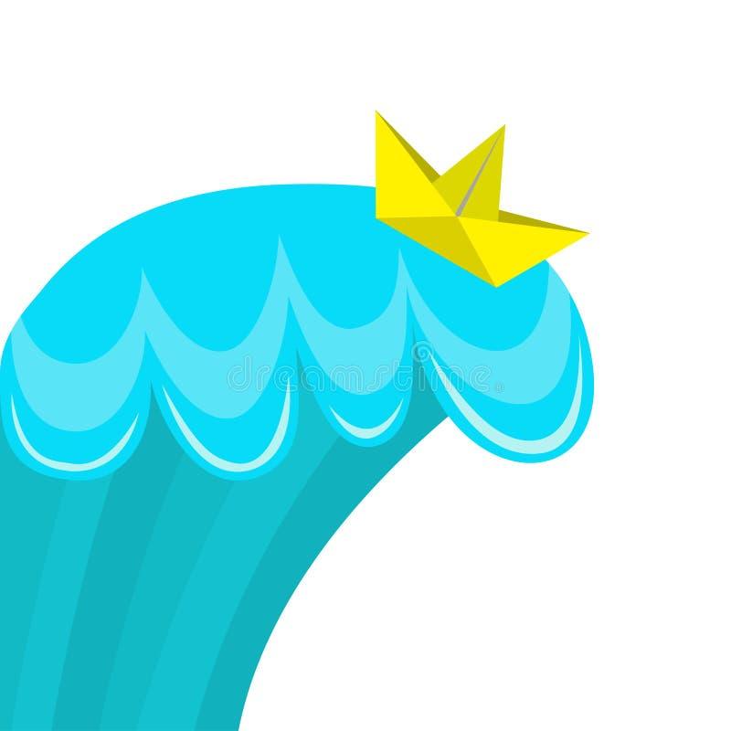 Origami裱糊漂浮在海海浪的小船船 冲浪的水模板 大挥动 手工制造的工艺 逗人喜爱的动画片婴孩样式 B 皇族释放例证