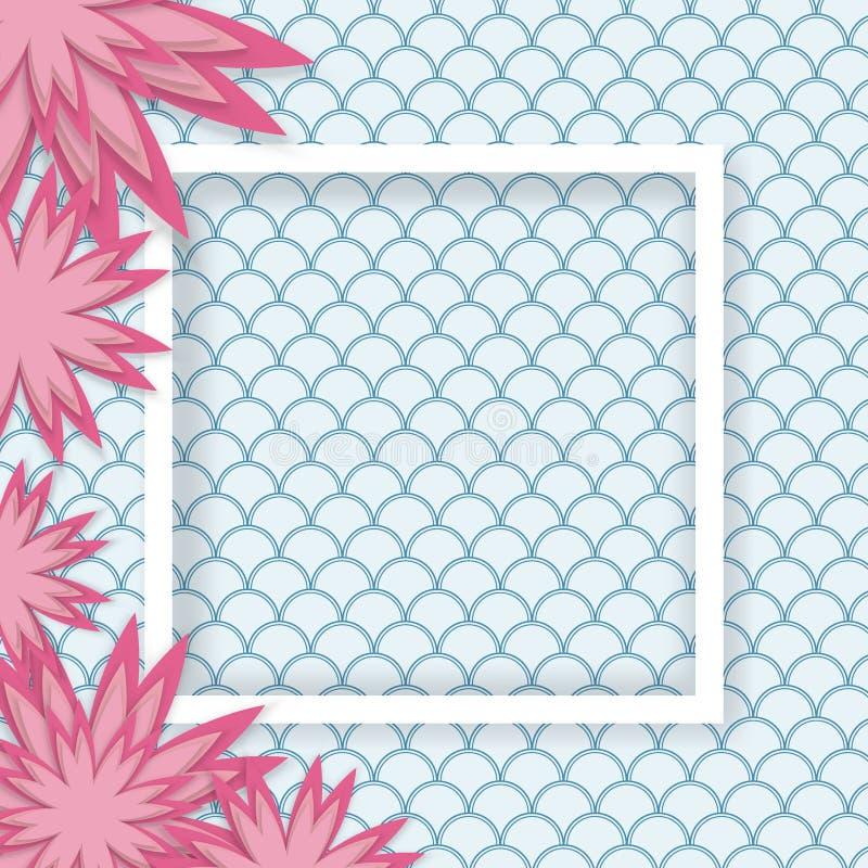 Origami设计元素削减了纸桃红色花做的层数与空白的白色边界框架,葡萄酒在背景的波动图式的 向量例证