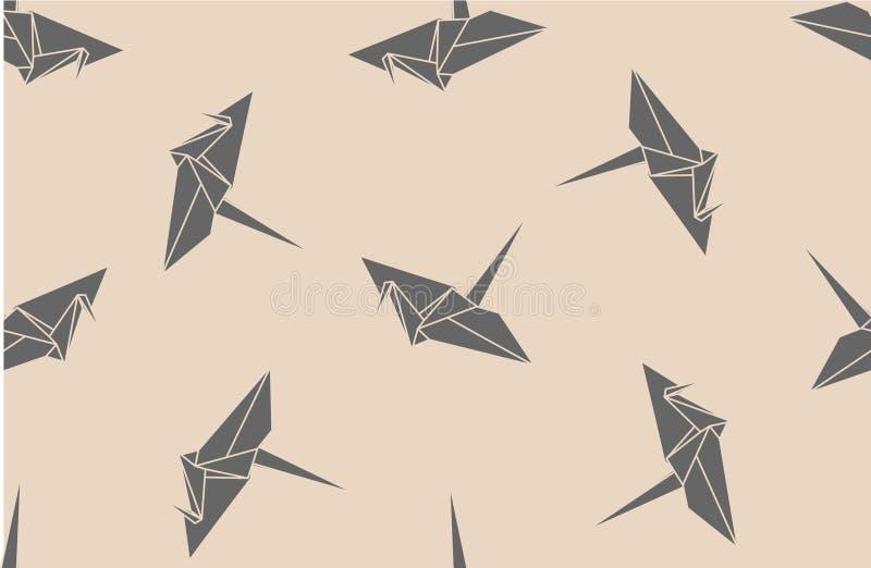 origami起重机的无缝的样式 向量例证
