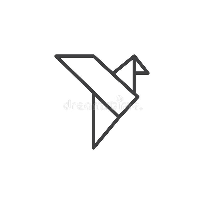 Origami鸟概述象 库存例证
