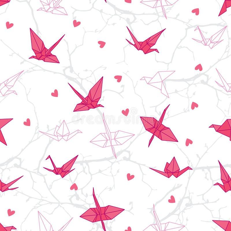 Origami żurawie w miłości na gałąź bezszwowym wektorowym druku royalty ilustracja