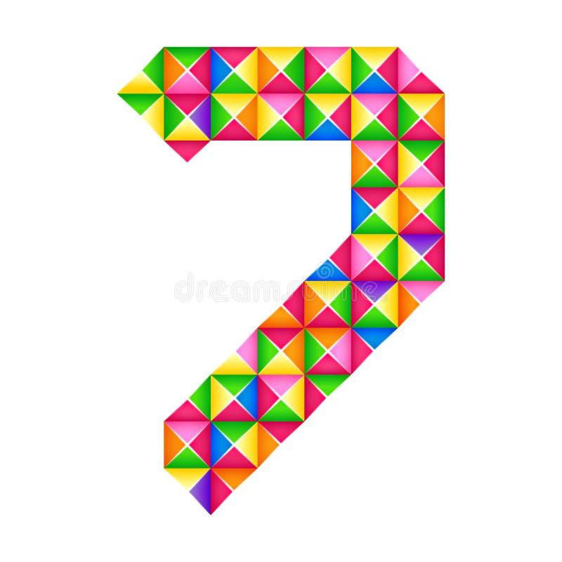 Origami αριθμός 7 έβδομος ρεαλιστικός τρισδιάστατος απομονωμένος επίδραση αριθμός origami του αλφάβητου, ψηφίο ελεύθερη απεικόνιση δικαιώματος