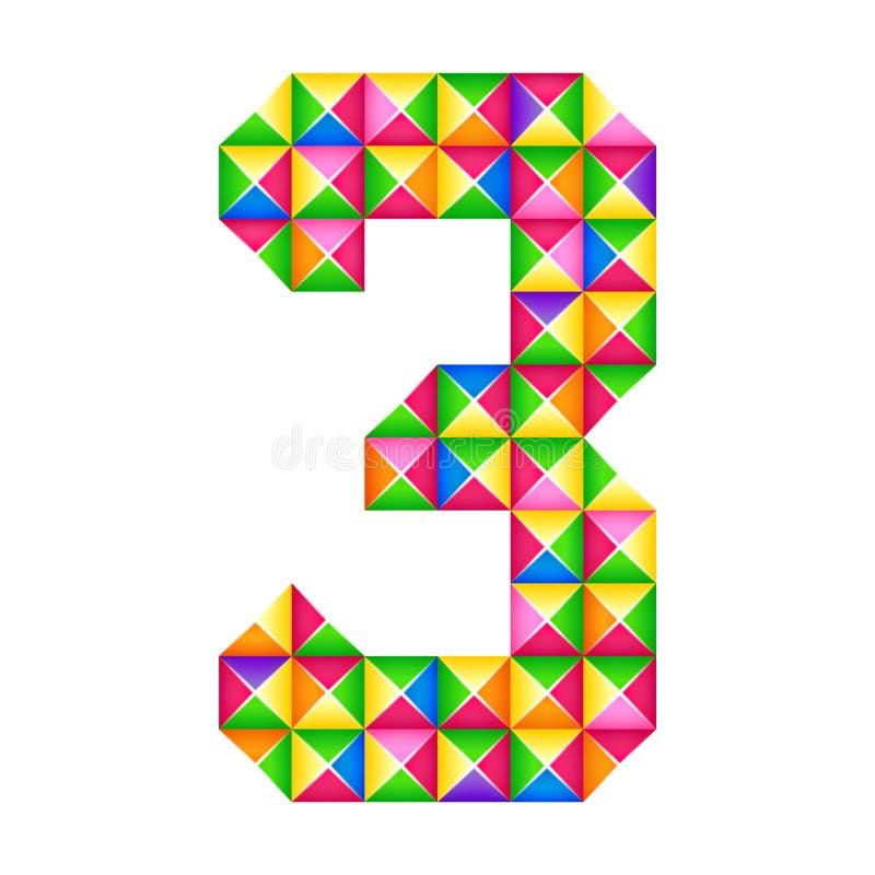 Origami αριθμός 3 τρίτη ρεαλιστική τρισδιάστατη επίδραση origami που απομονώνεται Αριθμός του αλφάβητου, ψηφίο διανυσματική απεικόνιση