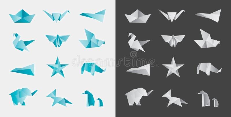 Origami και διπλωμένο σύνολο διακοσμήσεων εγγράφου διανυσματικό στοκ φωτογραφία με δικαίωμα ελεύθερης χρήσης
