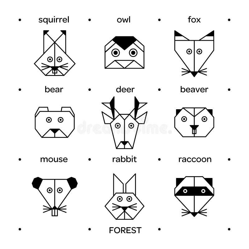 Origami 3 леса животных иллюстрация вектора