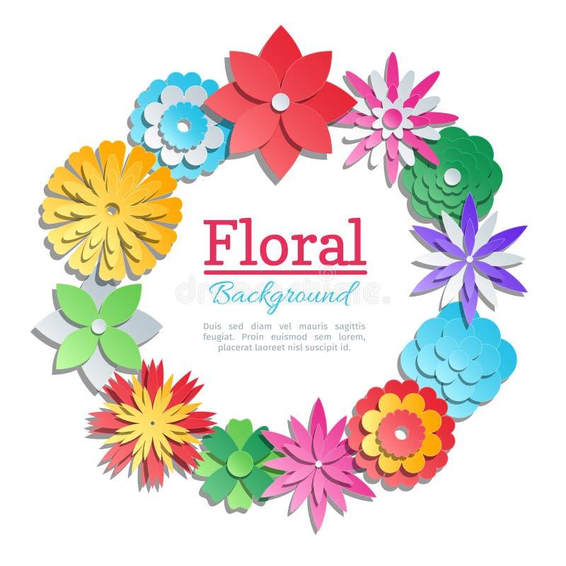 Origami цветет карточка приглашения Шаблон флористического дизайна вектора отрезанный бумагой бесплатная иллюстрация