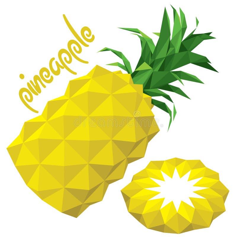 Origami (低多)菠萝(+EPS 10) 皇族释放例证