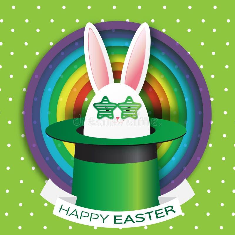 Origami绿化与复活节快乐的贺卡-用白色复活节兔子-绿色太阳镜 向量例证
