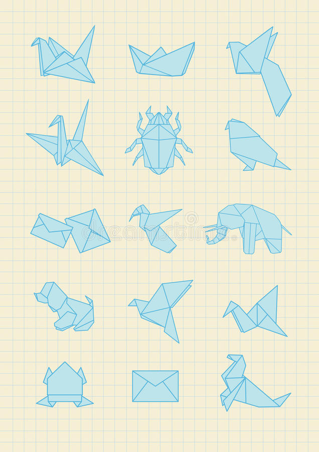 Origami. Icons on the Notebook Paper royalty free illustration