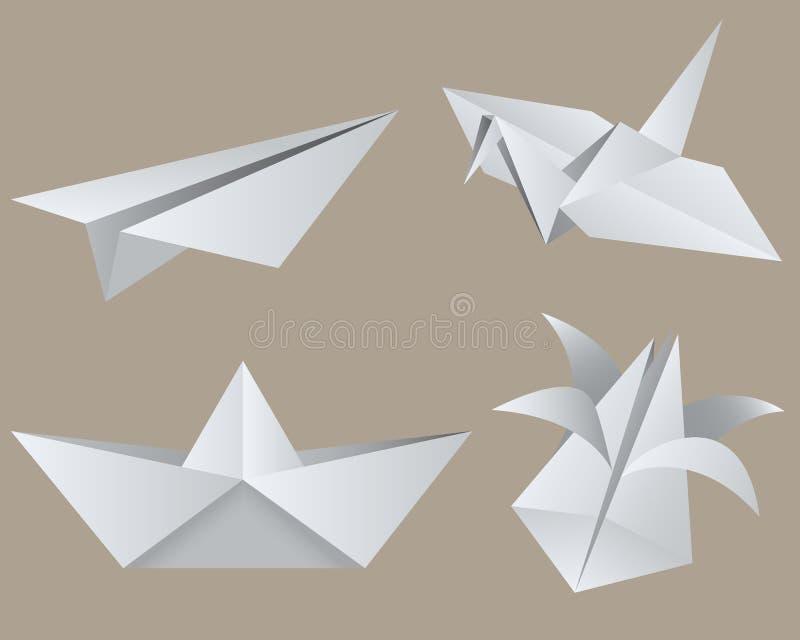 Origami. Objects. Isolated. EPS 8 royalty free illustration