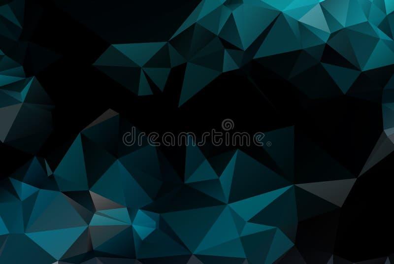深蓝几何弄皱的三角低多origami样式梯度例证图表背景 r 皇族释放例证
