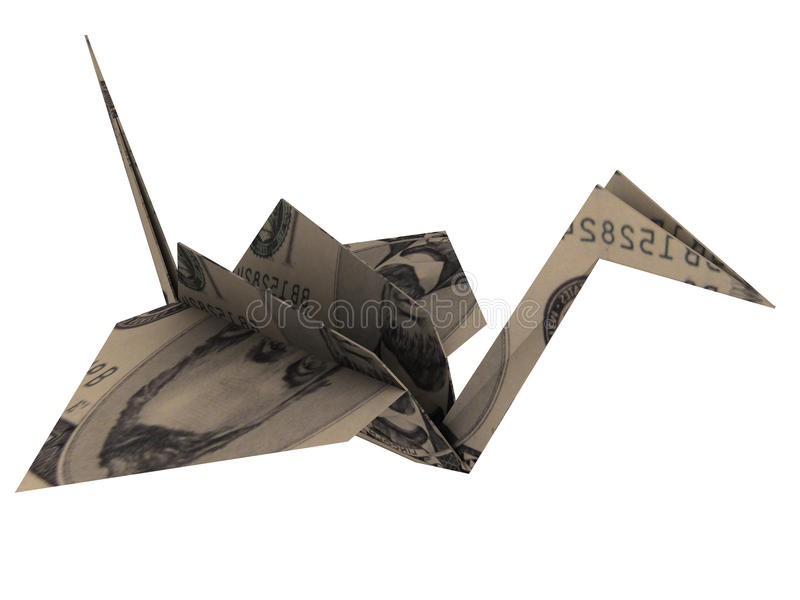 Origami. Bird made from paper. Origami. 3d render stock illustration