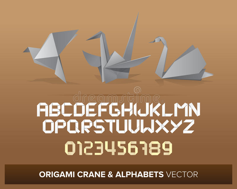 Origami. Objects with alphabet letters and numbers stock illustration