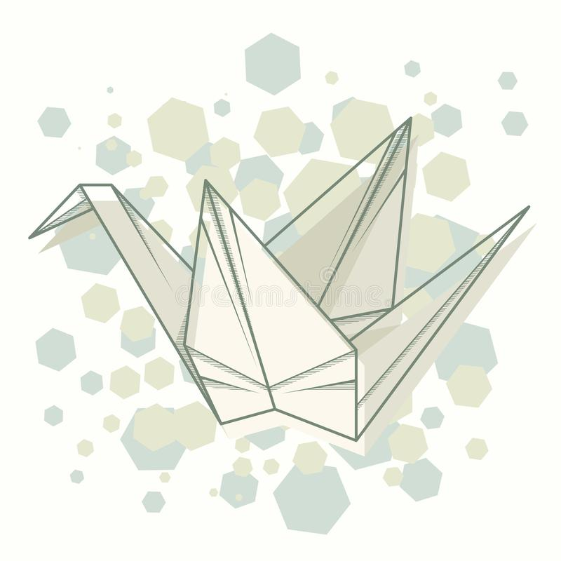Origami abstrait de grue d'illustration de vecteur illustration stock