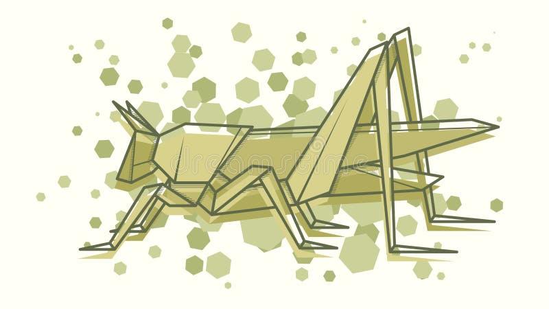 Origami abstrait de sauterelle d'illustration de vecteur illustration libre de droits