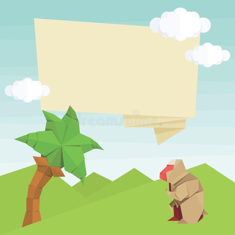 Origami albert, Palme, Ballon und Wolken herum Einfache flache Illustration des Vektors vektor abbildung