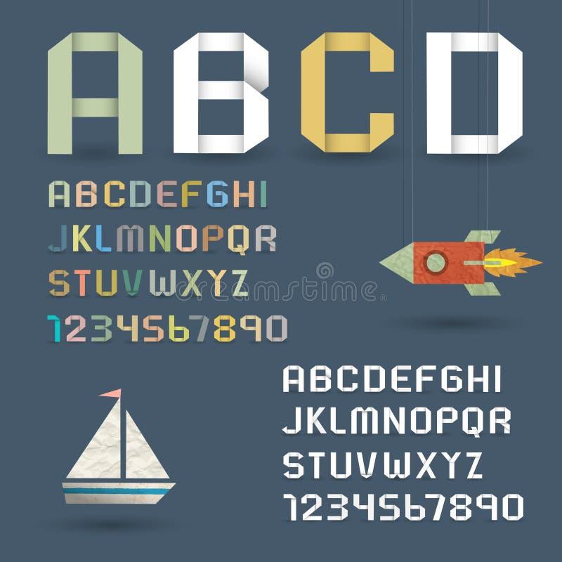 Origami alfabet med nummer i retro stil royaltyfri illustrationer