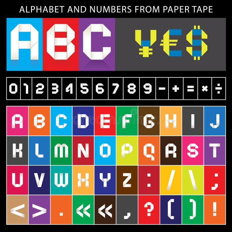 Origami alphabet, folded paper tape, font ribbon vector illustration